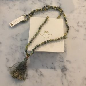 Satya lotus olive jade mala necklace